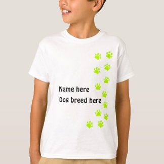 Paw print pale green - add your name or dog breed T-Shirt