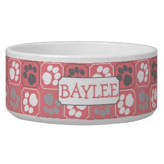 Paw Print Pattern Pink with Name Pet Food Bowl