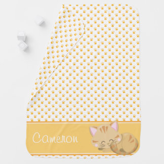 Paw Print Pattern with Sleeping Cat | Personalized Baby Blanket