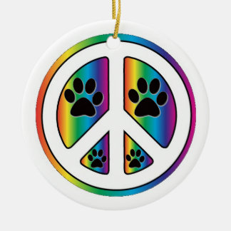 Paw print peace christmas ornament