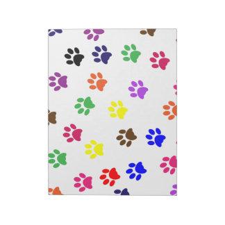 Paw print pet dog colorful fun notepad