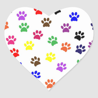 Paw print pet dog colorful sticker, stickers, gift heart sticker