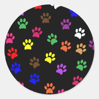 Paw print pet dog colorful sticker, stickers, gift round sticker
