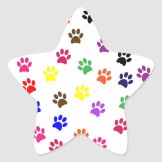 Paw print pet dog colorful sticker, stickers, gift star sticker