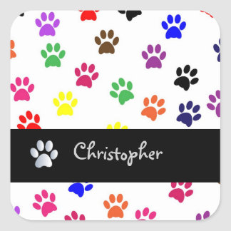 Paw print pet dog custom boyss name fun stickers