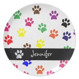 Paw print pet dog custom girls name fun dish plate