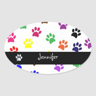 Paw print pet dog custom girls name oval stickers