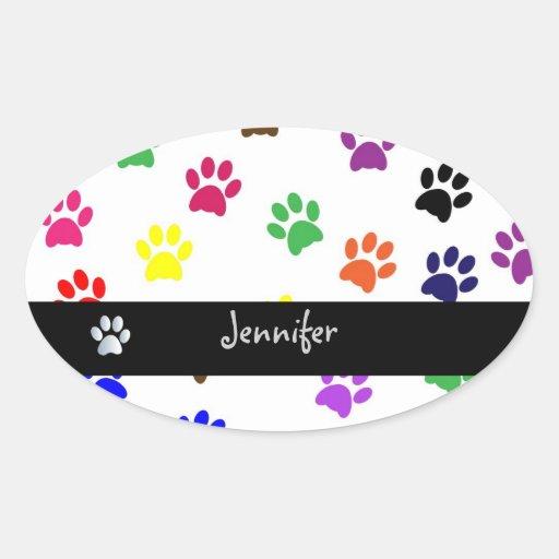 Paw print pet dog custom girls name oval stickers