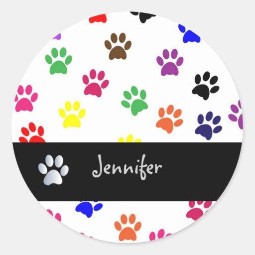 Paw print pet dog custom girls name stickers