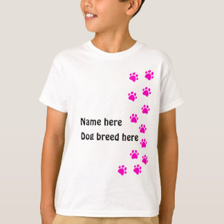 Paw print pink - add your own name or dog breed T-Shirt