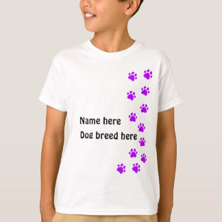 Paw print purple - add your own name or dog breed T-Shirt