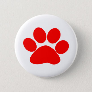Paw Print (Red) 6 Cm Round Badge