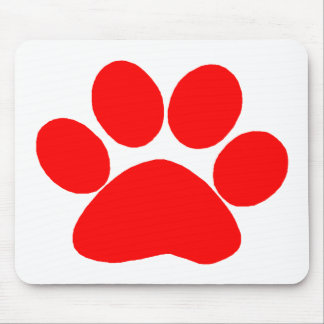 Paw Print (Red) Mouse Mat