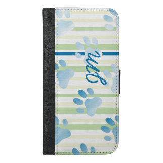 Paw Print Striped Blue Monogram Personalized iPhone 6/6s Plus Wallet Case