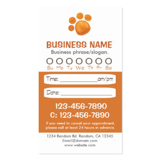 Paw print veterinarian appointment cards business card templates