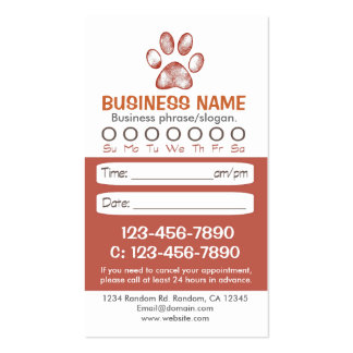 Paw print veterinarian appointment cards pack of standard business cards