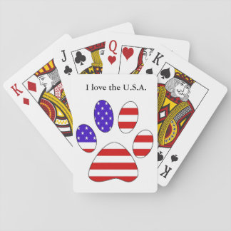 Paw Print with the American Flag Playing Cards