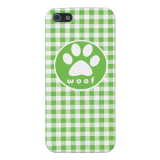 Paw Print; Woof; green gingham Cover For iPhone 5