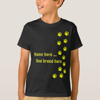 Paw print yellow - add your own name or dog breed T-Shirt