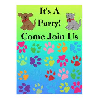 Paw Prints 14 Cm X 19 Cm Invitation Card