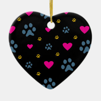 Paw Prints and Hearts Ceramic Heart Decoration