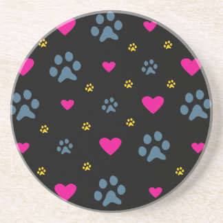 Paw Prints and Hearts Coasters