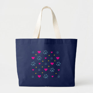 Paw Prints and Hearts Large Tote Bag