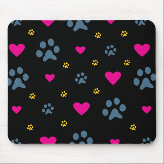 Paw Prints and Hearts Mouse Mat