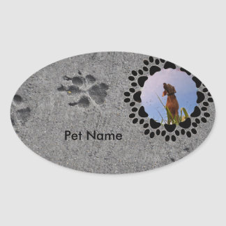 Paw Prints and Photo Oval Sticker
