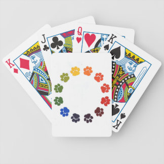 Paw Prints Circle Bicycle Playing Cards