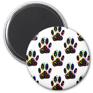Paw Prints Confetti And Party Streamer Pattern 6 Cm Round Magnet