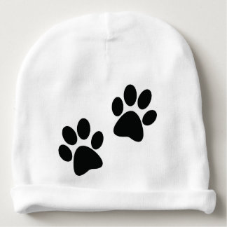 Paw Prints Design on a Baby Beanie