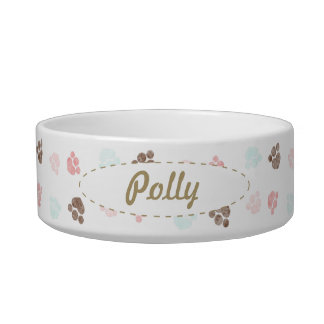 Paw Prints Dog Cat Personalized Mocha Baby Cat Bowl