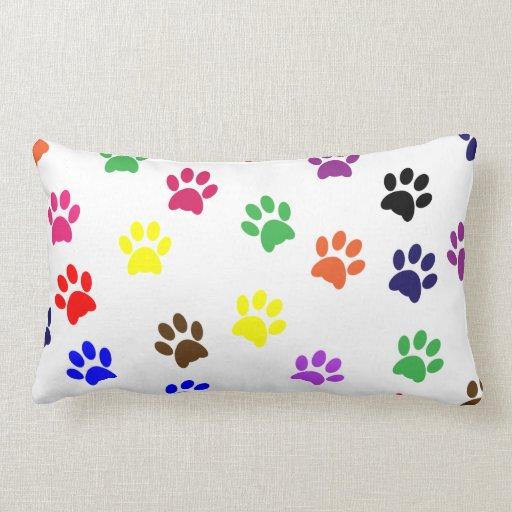 Paw prints dog pet fun colorful cute pawprints throw pillow