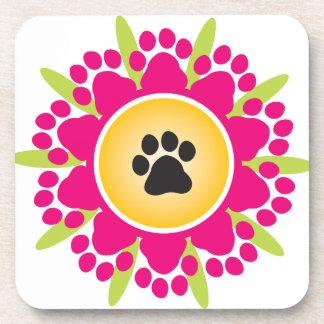 Paw Prints Flower Drink Coasters