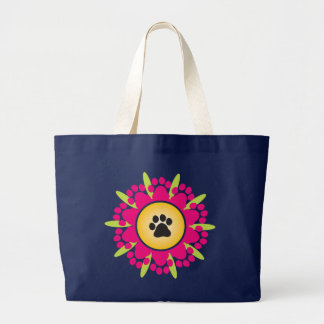 Paw Prints Flower Large Tote Bag