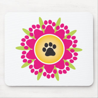 Paw Prints Flower Mouse Mat
