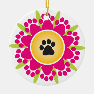 Paw Prints Flower Round Ceramic Decoration