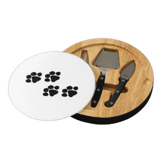 Paw Prints For Animal Lovers Round Cheese Board
