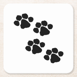 Paw Prints For Animal Lovers Square Paper Coaster