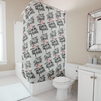 Paw Prints Heart Shower Curtain