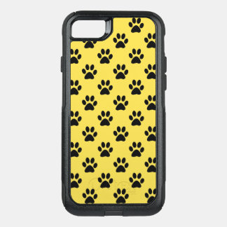 Paw prints in Black customizable background color OtterBox Commuter iPhone 8/7 Case