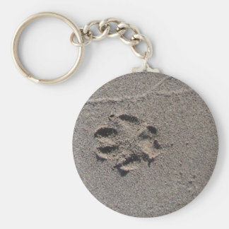 Paw Prints in Sand Key Ring