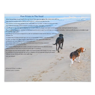 """Paw Prints in The Sand 14"""" x 11""""  Print"""