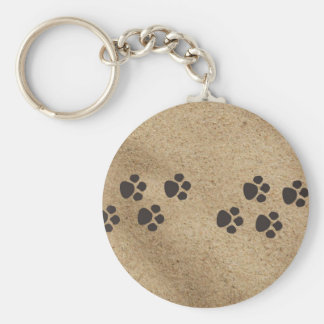 Paw Prints in the Sand Basic Round Button Key Ring