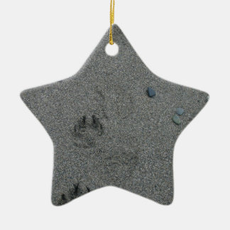 Paw Prints in the Sand Christmas Ornament