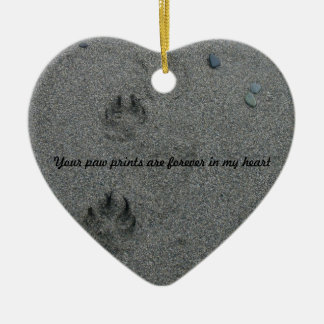 Paw Prints in the Sand Pet Memorial Christmas Ornament