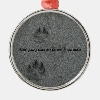 Paw Prints in the Sand Pet Memorial Silver-Colored Round Decoration