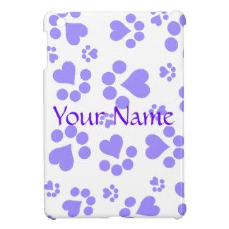 Paw prints lilac - Add text or Add name iPad Mini Cover