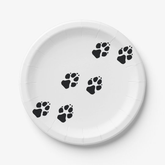 Paw prints of a dog paper plate